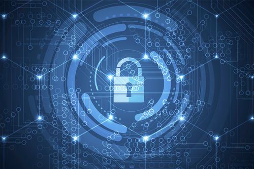 A blue padlock graphic is surrounded by blue circles, representing cyber security.