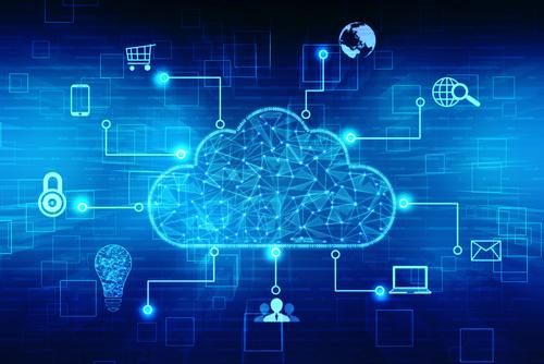 Cloud computing concept against a blue background.