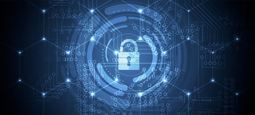 Digital graphic of a blue padlock is surrounded by blue-lit circles.